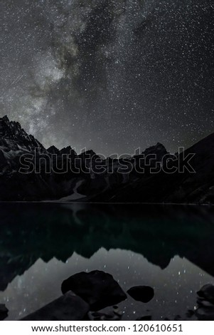 The starry sky is reflected in the third Gokyo lake - Nepal, Himalayas