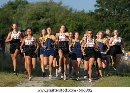 The start of a girls cross country meet. High School. Editorial use only.