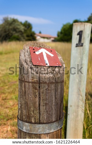 The start of a hiking trail, a guided trail, starting marker