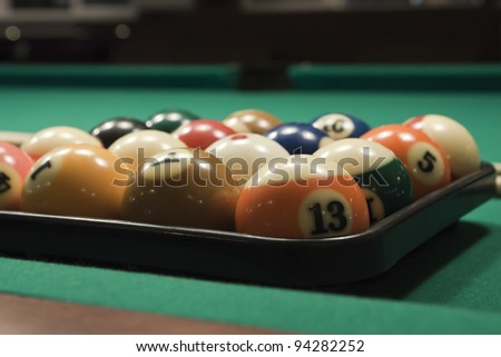 The start of the game of pool (billiard). Episode of pool game play
