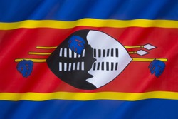 The state and war flag of Swaziland - adopted after Swaziland gained independence from Britain on September 6th 1968.