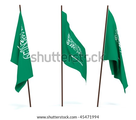 The state flag of Saudi Arabia. On white background