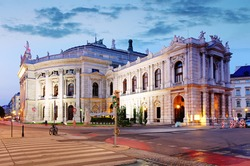 The state Theater Burgtheater of Vienna, Austria at night