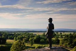 The statue of Gen. G.K. Warren at Little Round Top, Gettysburg Battlefield