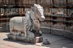 The statue of God Nandi carved out of stone at Harihareshwara Temple, Harihar, Karnataka, India.