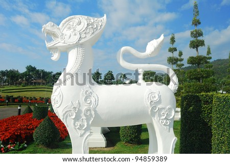 The statue of Lanna style singha in Royal Flora Expo, Chiang Mai, Thailand
