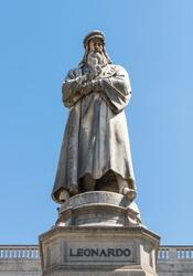 The statue of Leonardo Da Vinci in Scala piazza of Milan, Italy.