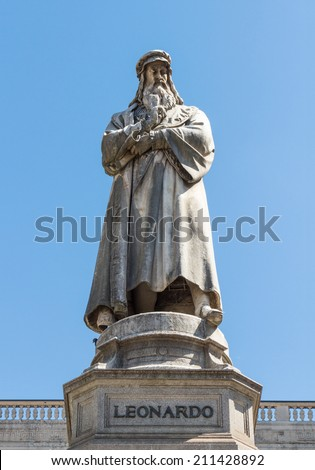 The statue of Leonardo Da Vinci in Scala piazza of Milan, Italy.