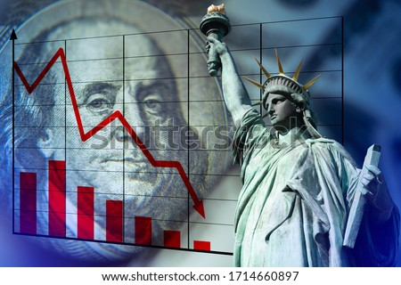 The statue of Liberty, a dollar bill, and a falling graph. The economic crisis in America. Decline in industrial production in the United States. The deterioration of the US economic indicators.