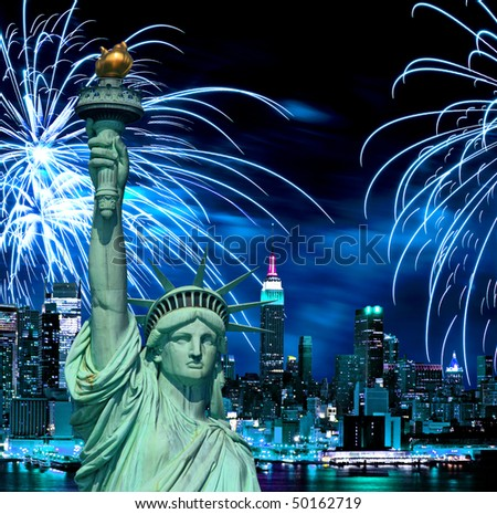 statue of liberty fireworks. The Statue of Liberty and