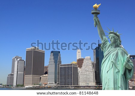 The Statue of Liberty and Manhattan skyline, New York City