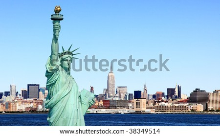 The Statue of Liberty and Mid-town Manhattan Skyline