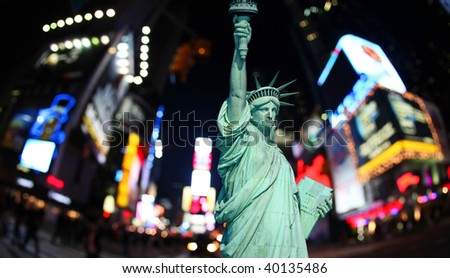 The statue of Liberty and times square in the New York City