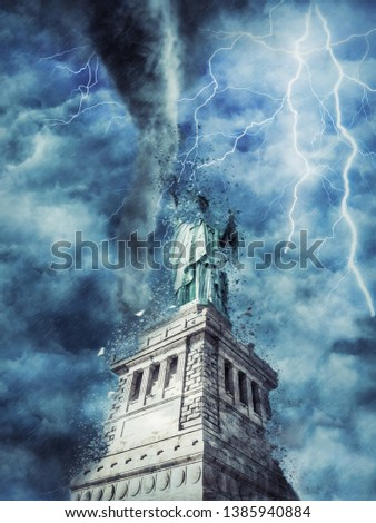The Statue of Liberty during the heavy storm, rain and lighting in New York, creative picture.