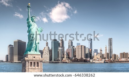 The statue of Liberty, Landmarks of New York City with Manhattan building background #646338262