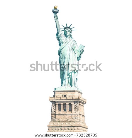 The Statue of Liberty, Landmarks of New York, isolated white background with clipping path
