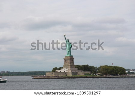The Statue of Liberty on Liberty Island in New York Harbor, New York City, USA