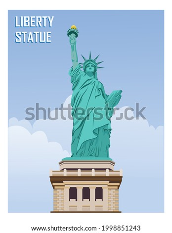 The Statue of Liberty (other names in English: Liberty Enlightening the World, French: La Liberté éclairant le monde) is a giant statue located on Liberty Island, at the mouth of the Hudson River in N Foto stock ©