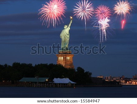 The Statue of Liberty with firework illustration