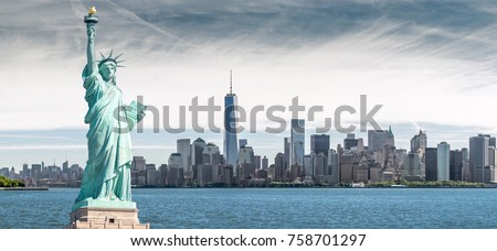 The Statue of Liberty with One World Trade Center background, Landmarks of New York City, USA #758701297