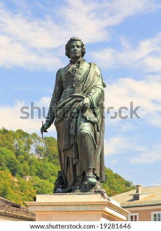 The statue of Mozart in the Mozart Square in Salzburg, Austria