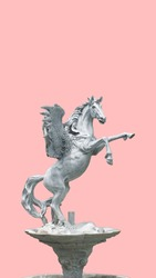 The statue of Pegasus Fountain die cutting in light pink color background
