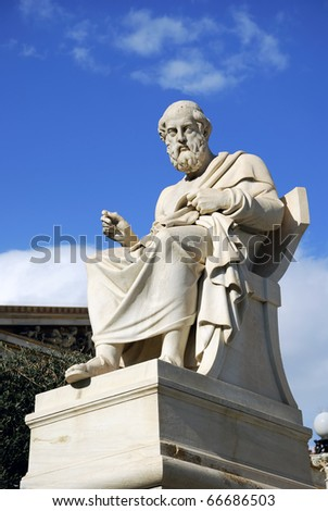 The statue of Plato at the facade of the Academy of Athens in Greece