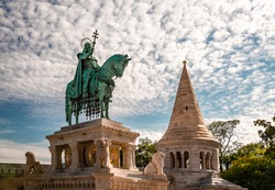The Statue of Saint Stephen (Stephen I, first king of Hungary), in  the southern court of the Fisherman's Bastion in Budapest. It was made by sculpture Alajos Stróbl in 1906.