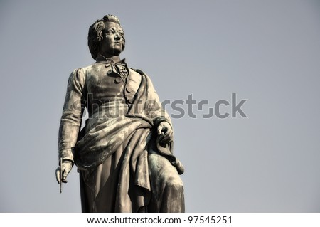 The statue of the famous composer Wolfgang Amadeus Mozart in Salzburg, Austria