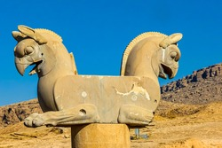 The statue of the Huma bird in Persepolis, an ancient city, in Iran
