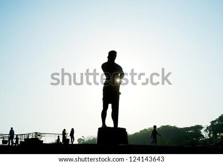 The Statue of the Sentinel of Freedom (statue of Lapu-lapu) in  Luneta park, Metro Manila, Philippines