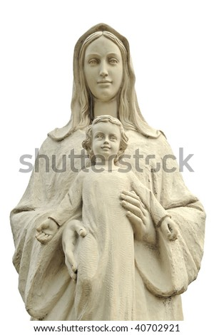 The statue of Virgin Mary and Jesus boy, isolated