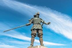 The statue of warring lord Motochika Chosokabe in Kochi, Japan