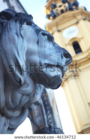 The statues of lions in front of the Feldherrnhalle (Field Marshall's Hall) in Munich, Germany