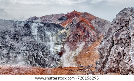 The steam from geysers. Valley of Geysers. Kronotsky Biosphere Reserve. Kamchatka, Russia