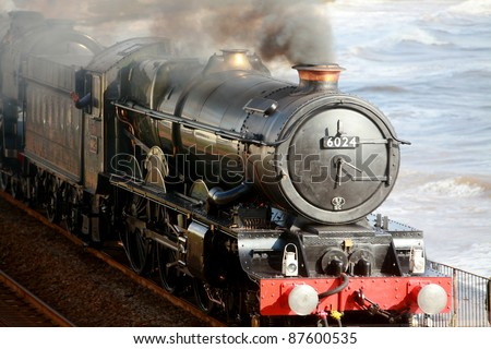 The steam locomotive King Edward I on the historic Brunel south Devon Coastal route