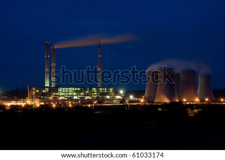 the steam turbine power plant Pocerady by night - Czech Republic