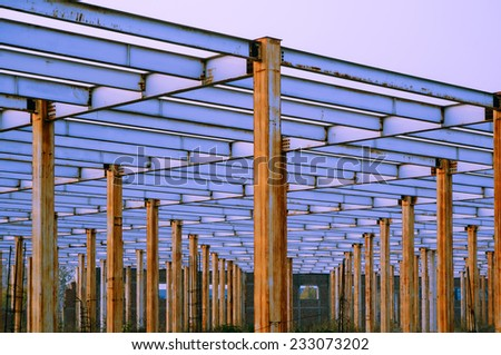 The steel frame, the half built site