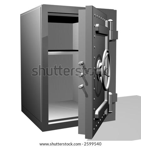 The steel safe with the open door