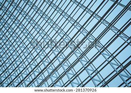 The steel structure of the glass wall in Beijing - Shutterstock ID 281370926