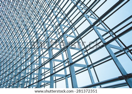 The steel structure of the glass wall in Beijing - Shutterstock ID 281372351