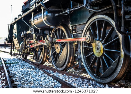 The steel wheels of old Japanese train in second war ii, Thailand, southeast Asia.