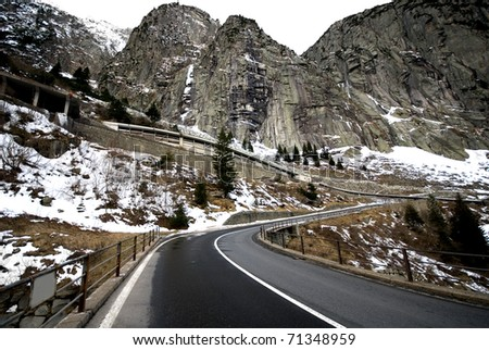 The steep mountain pass between Andermatt and Goschenen, Switzerland