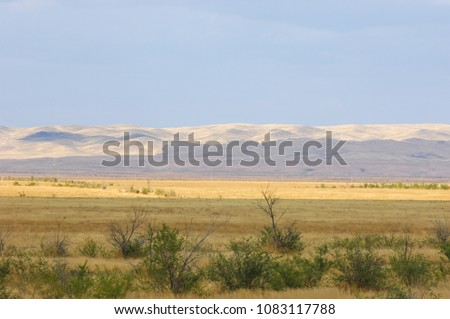 The steppe is woodless, poor in moisture and usually flat with grassy vegetation in the dry climate zone. prairie, veld, veldt ストックフォト ©