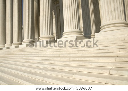 The steps and columns at the entrance to the US Supreme Court in Washington, DC.