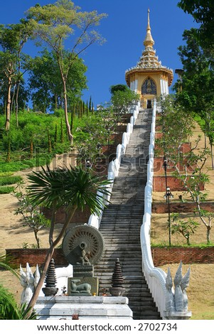 The 200 steps of Buddha. Religious place. Pattaya. Thailand