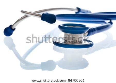 the stethoscope a doctor in the hospital is on the desk