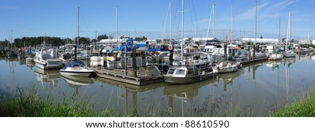 The Steveston Harbor Authority marina at it's Paramount site on the Fraser River. Richmond, British Columbia, Canada near Vancouver.