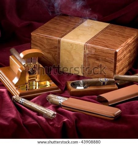 The still-life with cigar box