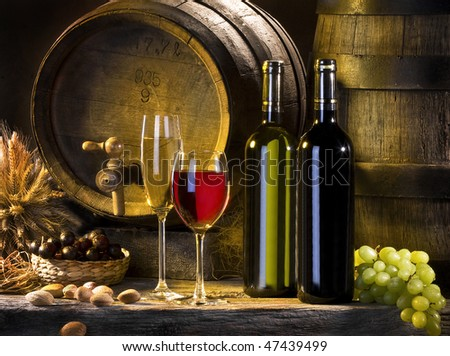 the still life with red wine and barrels